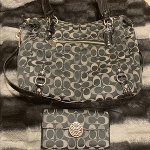 Black Canvas Coach Hobo Bag with Matching Wallet